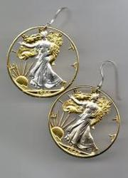 Beautifully Cut out & 2-toned old U.S. Half Dollar -  coin Earrings