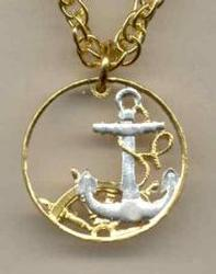 Beautifully Cut out & 2-toned Spanish Anchor & Ships Wheel - coin Necklace