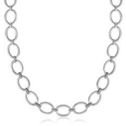 Sterling Silver Rhodium Plated Diamond Accented Rope Oval Necklace