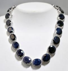 250+ Carat Sapphire & White Topaz Necklace