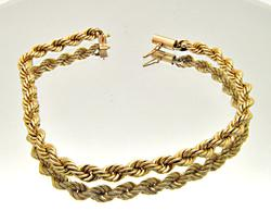 UNISEX 14 KT YELLOW GOLD ROPE CHAIN BRACELET.