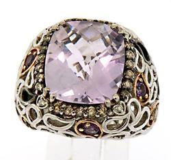 Stunning Sterling Silver Designer Gemstone and Diamond Ring