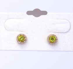 Glimmering Peridot & Diamond Halo Post Earrings in Gold