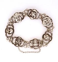 Unique Silver Thespian Bracelet, 6.5in