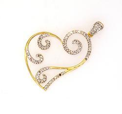 Stylized Diamond Heart Pendant in Gold