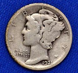 Semi Key 1921 Mercury Dime, Nice