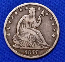 1877-CC Seated Liberty Half Dollar, Circ