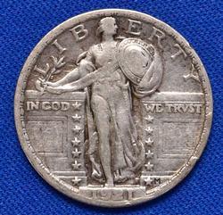 Semi Key Tough Date 1921 Standing Lib Quarter, Full Date