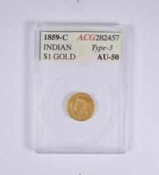 AU50 1859-C Indian Princess Head Gold Dollar - ACG Graded