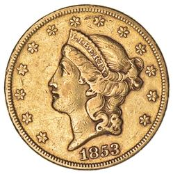 1853 $20.00 Liberty Head Gold Double Eagle - Circulated