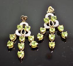 Sterling Silver Peridot & Diamond Earrings