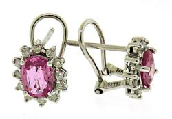 Tempting Pink Sapphire & Diamond Halo Earrings