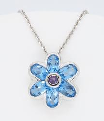 Flower shaped topaz and amethyst necklace