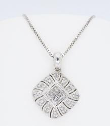 14K White Gold Diamond Cluster Necklace