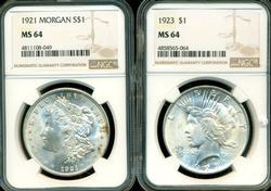 Near Gem BU 1921 Morgan & 1923 Peace Dollars. NGC MS64