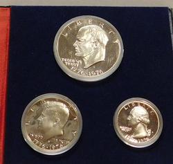 1976 3 piece Silver (40%) PROOF BiCentennial set