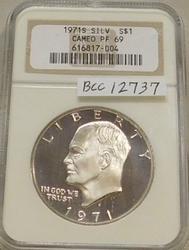 1971-S PROOF Silver (40%) Ike Dollar NCG CameoPR-69