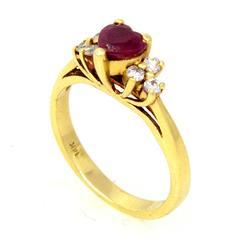 Petite Heart-Cut Ruby & Diamond Ring in Gold, Size 4.5