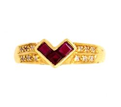 Invisible Set Ruby & Diamond Accent Ring in Gold, Size 6