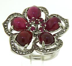 Carlo Viani Ruby Flower Ring