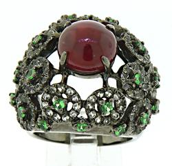 Sterling, Ruby and Tsavorite Ring