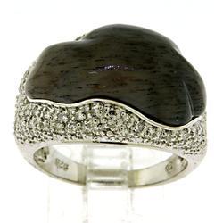 Sterling Silver Designer Gemstone and Diamond Ring
