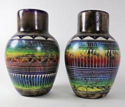Pair of Marchalene Bennett Navajo Vases