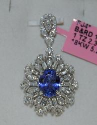 Tanzanite & Diamond Pendant in 18KT White Gold