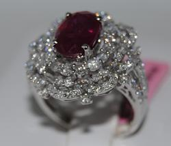 Ruby & Diamond Cocktail Ring in 18KT Gold