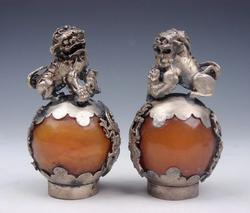 Pair of Shui Balls Foo Dog Lions