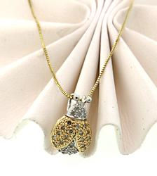Adorable 2 Tone Lady Bug Pendant Necklace w/Diamonds