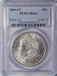 MS64 1880-CC Morgan Silver Dollar, PCGS
