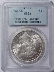 MS63 1890-CC Morgan Silver Dollar, PCGS