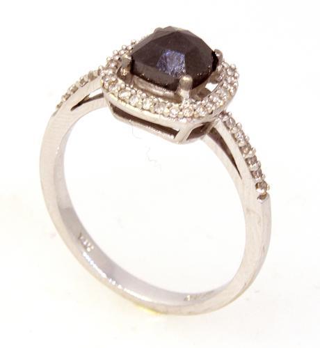 Shining Black Diamond Ring in White Gold, Size 5