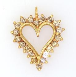 Lovely Diamond Heart Pendant in Gold