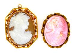 Lot of Two Cameo Pins, One Caramel & One Pink