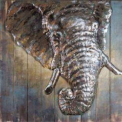 Wood Art Work Metallic Wall 3D Metal Painting