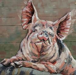 Pig Wall Decor Metal Art 3D Paintings Solid Metal Animals