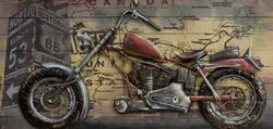 3D Custom Painting Metal Motorcycle Wall Sculpture