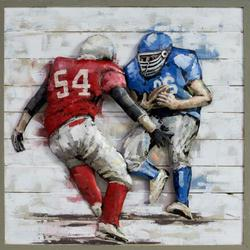 3D Wood Panel Painting Artwork Metal Football