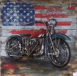Harley Davidson with American Flag 3D Wall Sculpture
