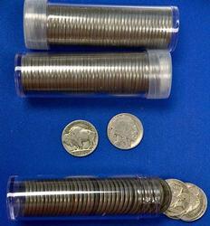 3 Rolls of Full Date Buffalo Nickels
