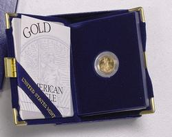 1999 Proof Gold US $5 Liberty with box and papers
