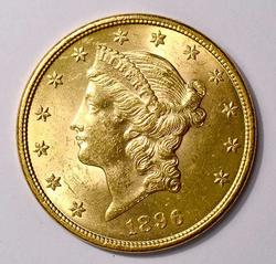Brillant UNC 1896 $20 Liberty Double Eagle