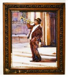 Giclee of a trumpet player on paper w hand carved frame