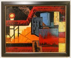 Eric Perine industrial scene acrylic on canvas signed