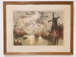 Vintage photoprint of ships on the port