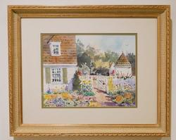 Beautiful watercolor of a sunny day in the garden