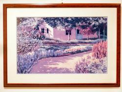 Decorative art lithoprint of a path scenery