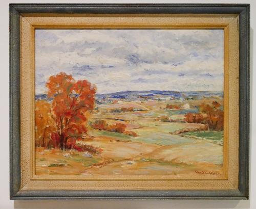 Lovely Autumn Landscape oil on board by Paul L Olson